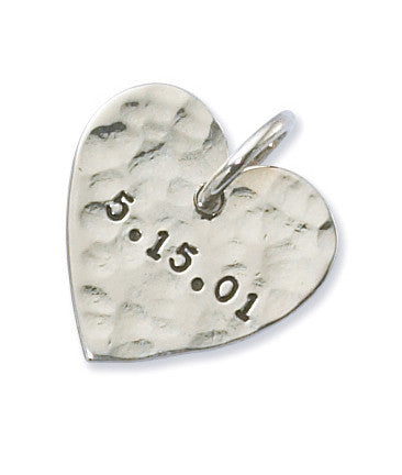 Personalized Sterling Silver Hammered Heart Charm