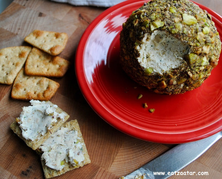 Smoked Gouda Cheese Ball with Pistachios and Zaatar