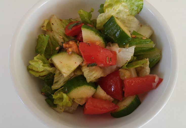 Fattoush Zaatar Salad with Pita Bread or Chickpeas (a gluten free option)