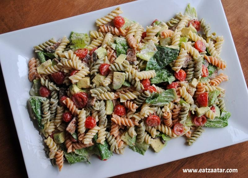 BLT Pasta Salad with Creamy Zaatar Dressing, ready to serve