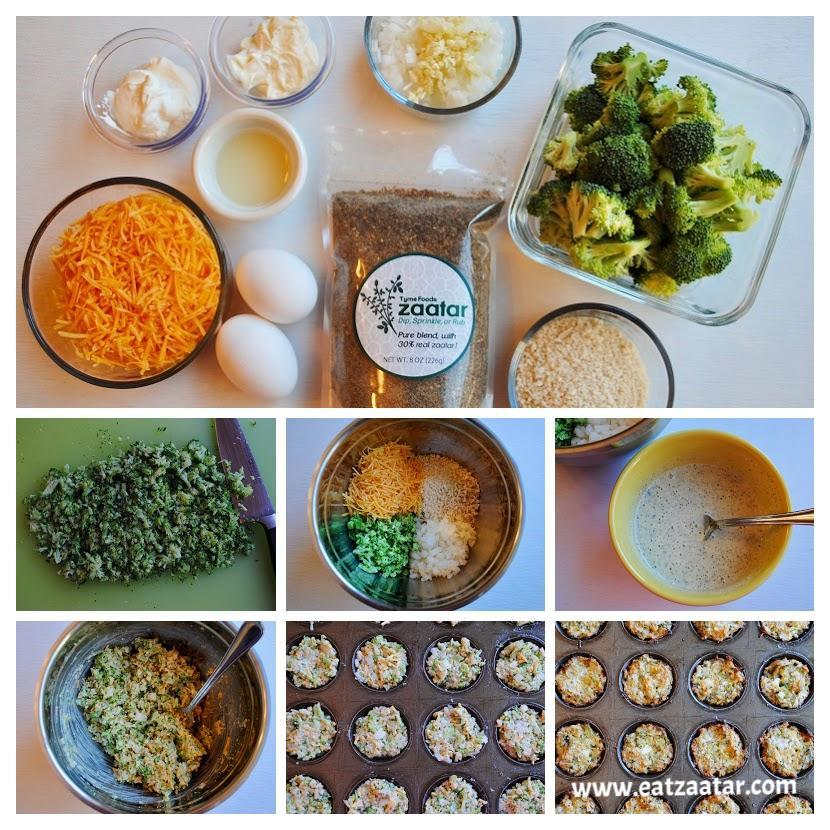 Broccoli, Cheddar & Zaatar Bites- collage from step one through step nine
