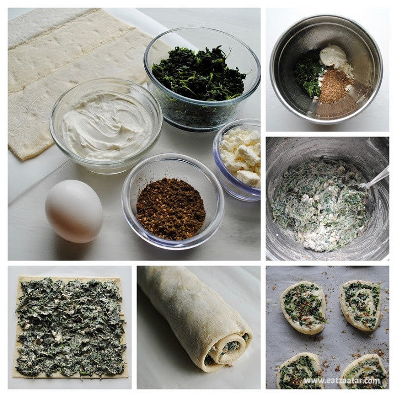 Creamy Spinach & Zaatar Pinwheels  - step one through step nine