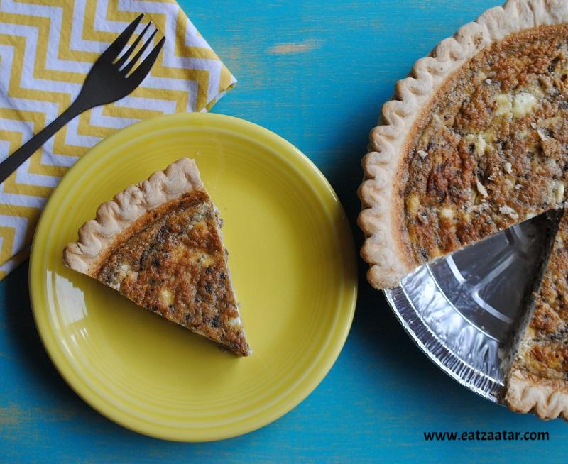 Caramelized Mushroom and Onion Quiche with Goat Cheese and Zaatar & Zaatar Spice Recipe - Caramelized Mushroom and Onion Quiche with ...