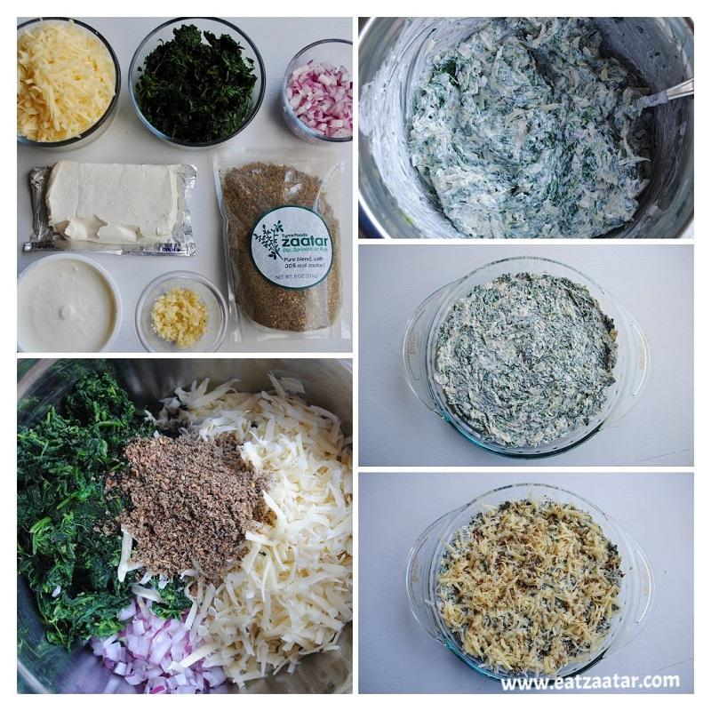 Hot Spinach, Swiss, and Zaatar Dip- collage from step one to step six