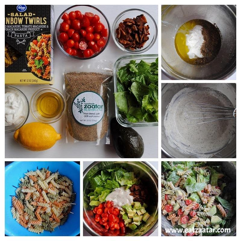 BLT Pasta Salad with Creamy Zaatar Dressing collage - step one to step five