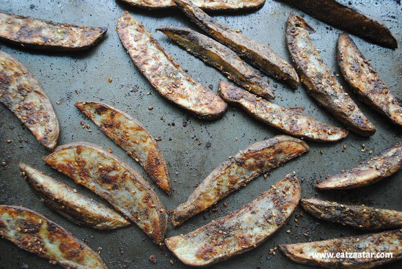 Oven Baked Za'atar Steak Fries out of the oven