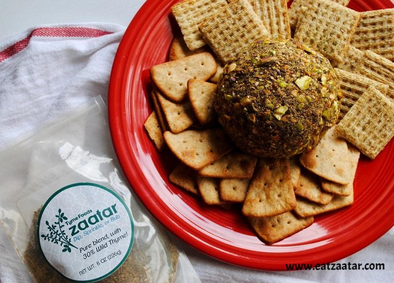 Smoked Gouda Cheese Ball with Pistachios and Zaatar served with crackers