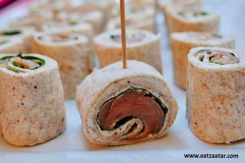 Smoked Salmon and Zaatar Pinwheels- cut and ready to serve