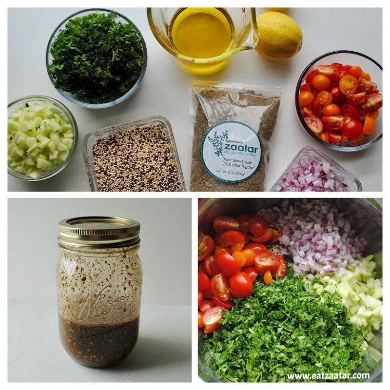 Zaatar Quinoa Tabbouleh-Ingredients-COLLAGE step one through step four