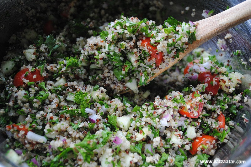 Zaatar Quinoa Tabbouleh-Mixing_ingredients