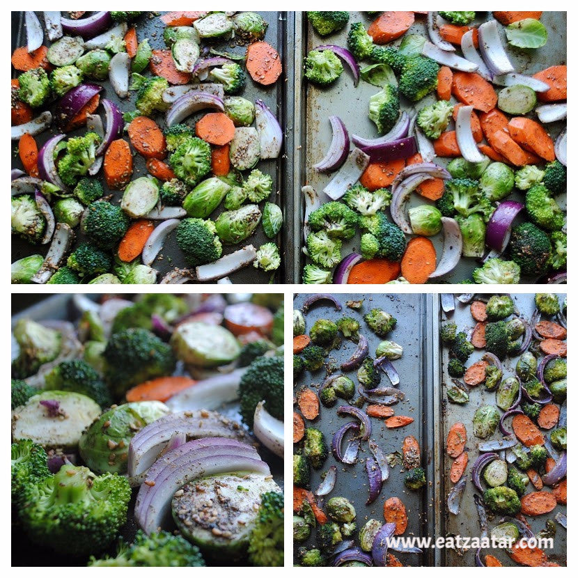 zaatat roasted vegetables with goat cheese - recipe steps vegetables before and after baking