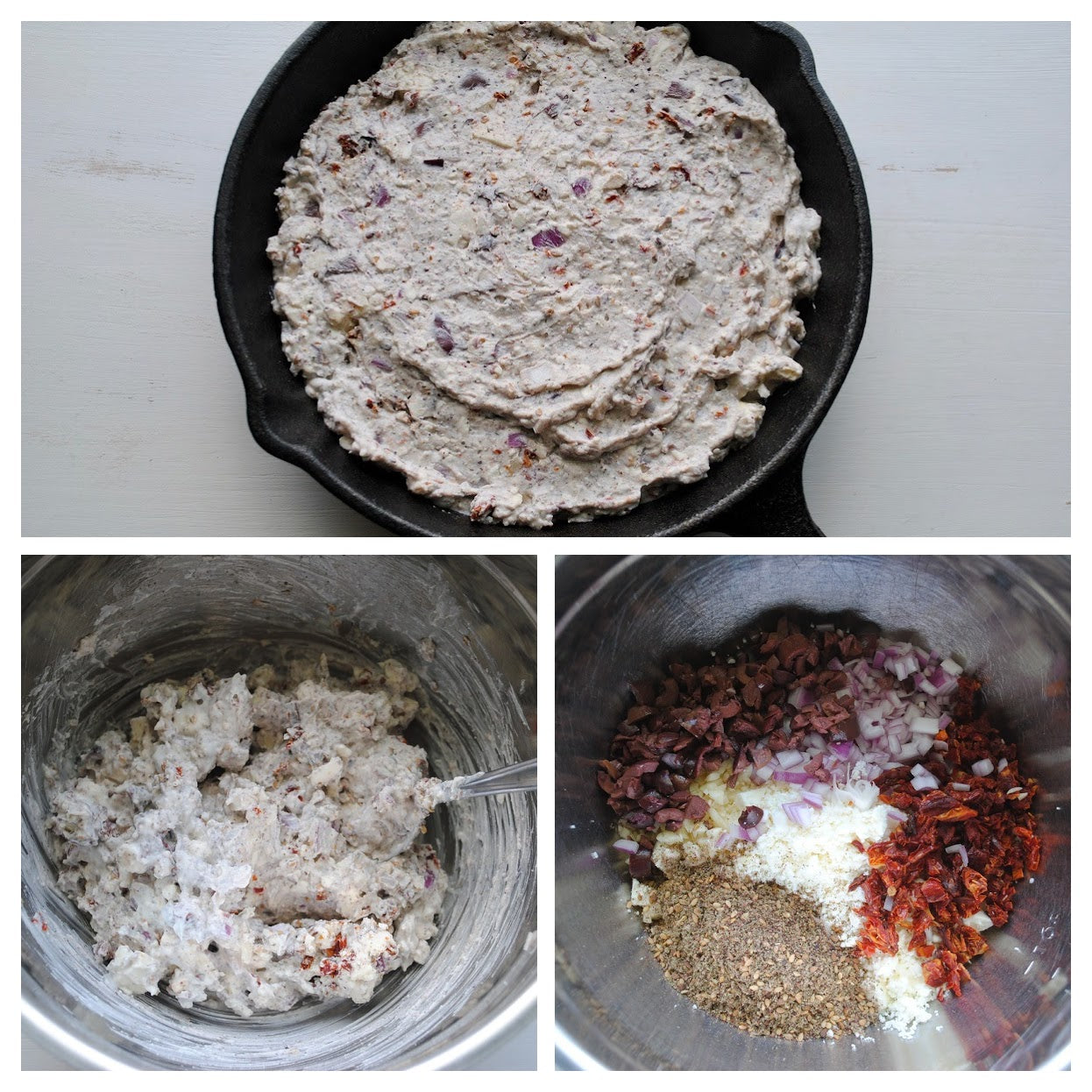 Zaatar Spiced Baked Feta Dip Recipe - Ingredients in a bowl ready to mix