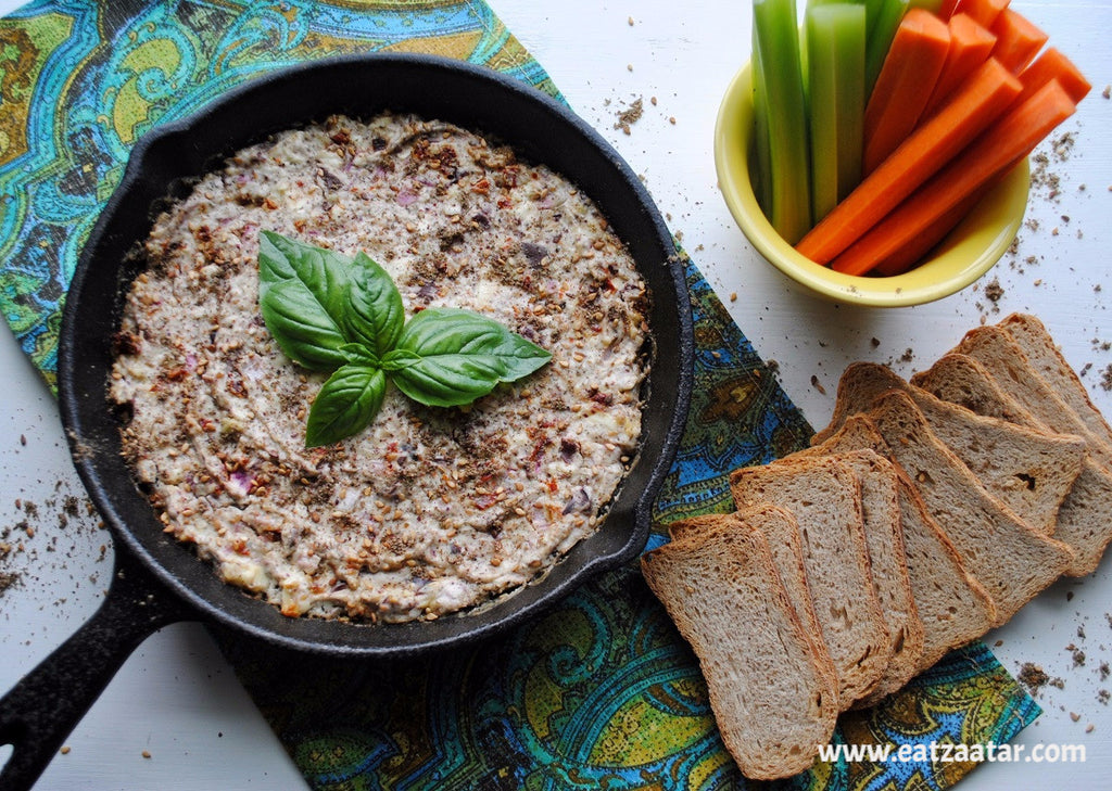 Zaatar Spiced Baked Feta Dip baked and served with fresh vegetables