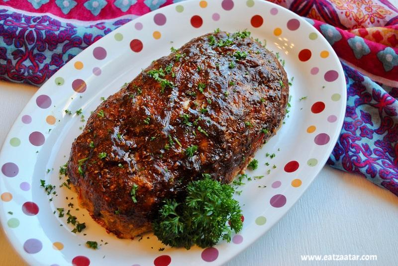 Zaatar Turkey Meatloaf, served in a plate
