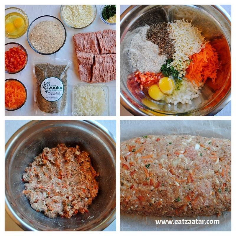 Zaatar Turkey Meatloaf- Collage step one to five