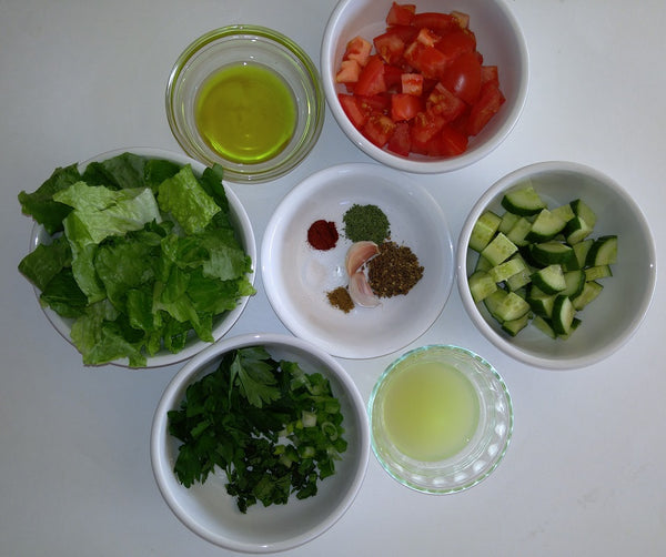 Fattoush Zaatar Salad Recipe - picture of ingredients