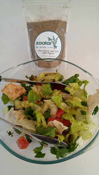 fattoush salad tossed with crispy pita bread
