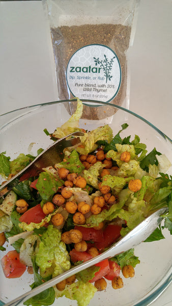 gluten free fattoush zaatar salad with roasted chickpeas