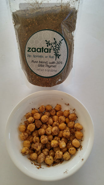 chickpeas roasted with zaatar with Tyme Foods' Zaatar 8 o.z. pouch