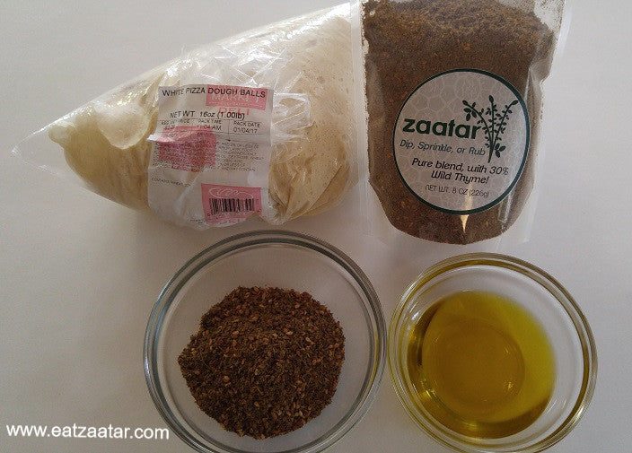 zaatar bread ingredients pictured - quality zaatar - olive oil and pizza dough - yes, only three ingredients