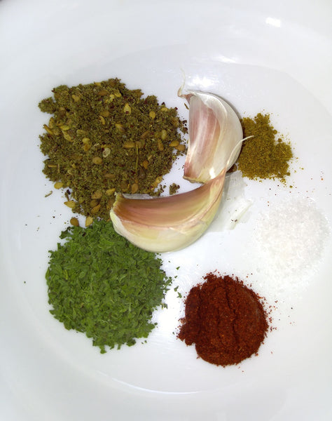 Fattoush Zaatar Salad dry ingredients - zaatar-dried mint -paprika- cumin
