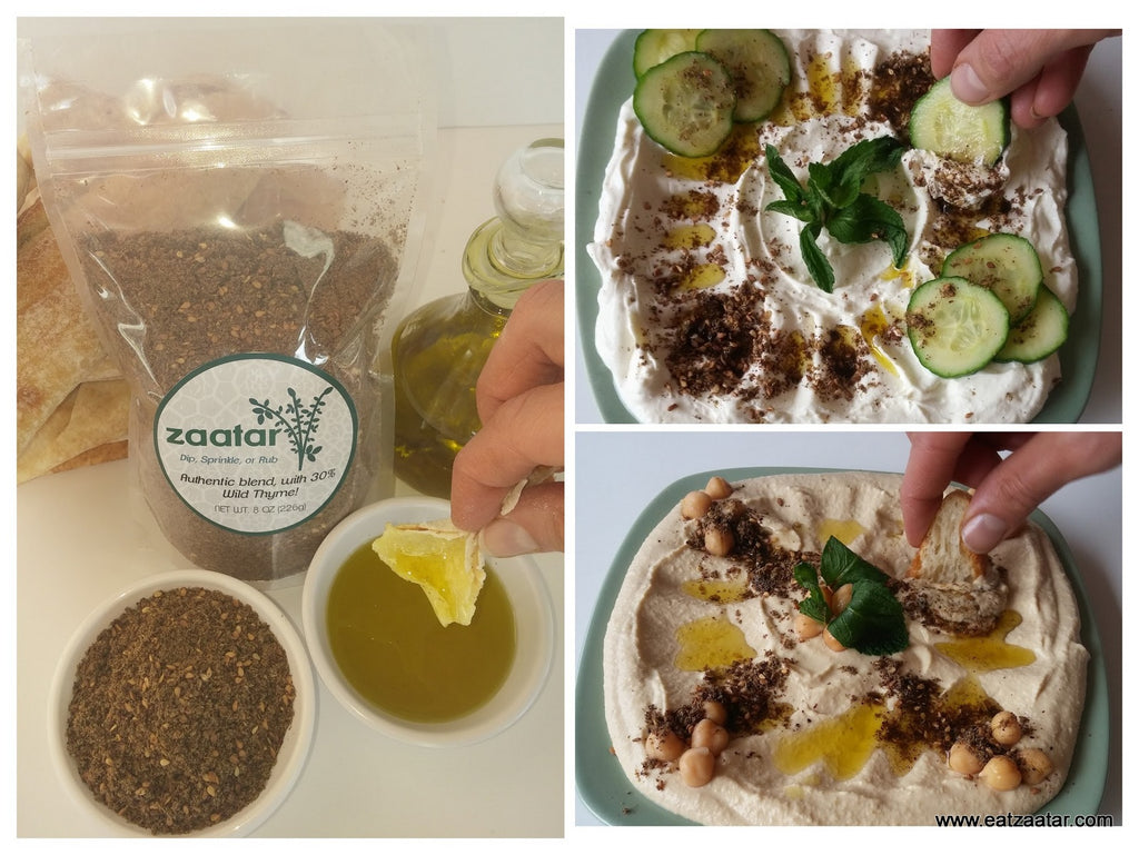 zaatar and olive oil dip sprinkle zatar on labaneh hummus