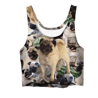 Crop Tops - Pug Collage