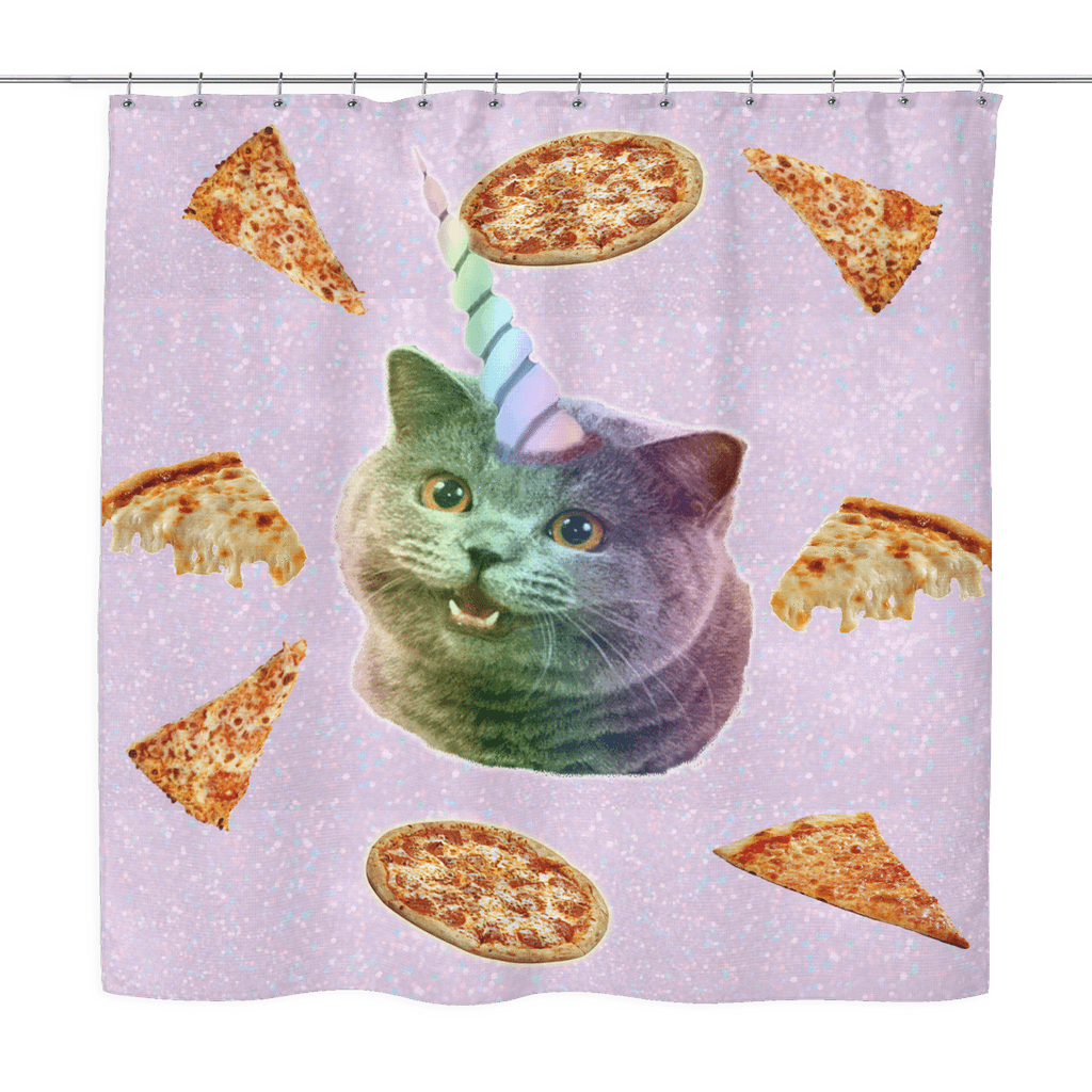 Pizza Cat Shower Curtain Jagy