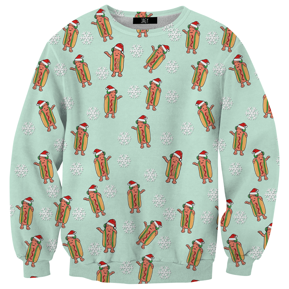 Sweater - Dancing Hot Dog Christmas Pattern