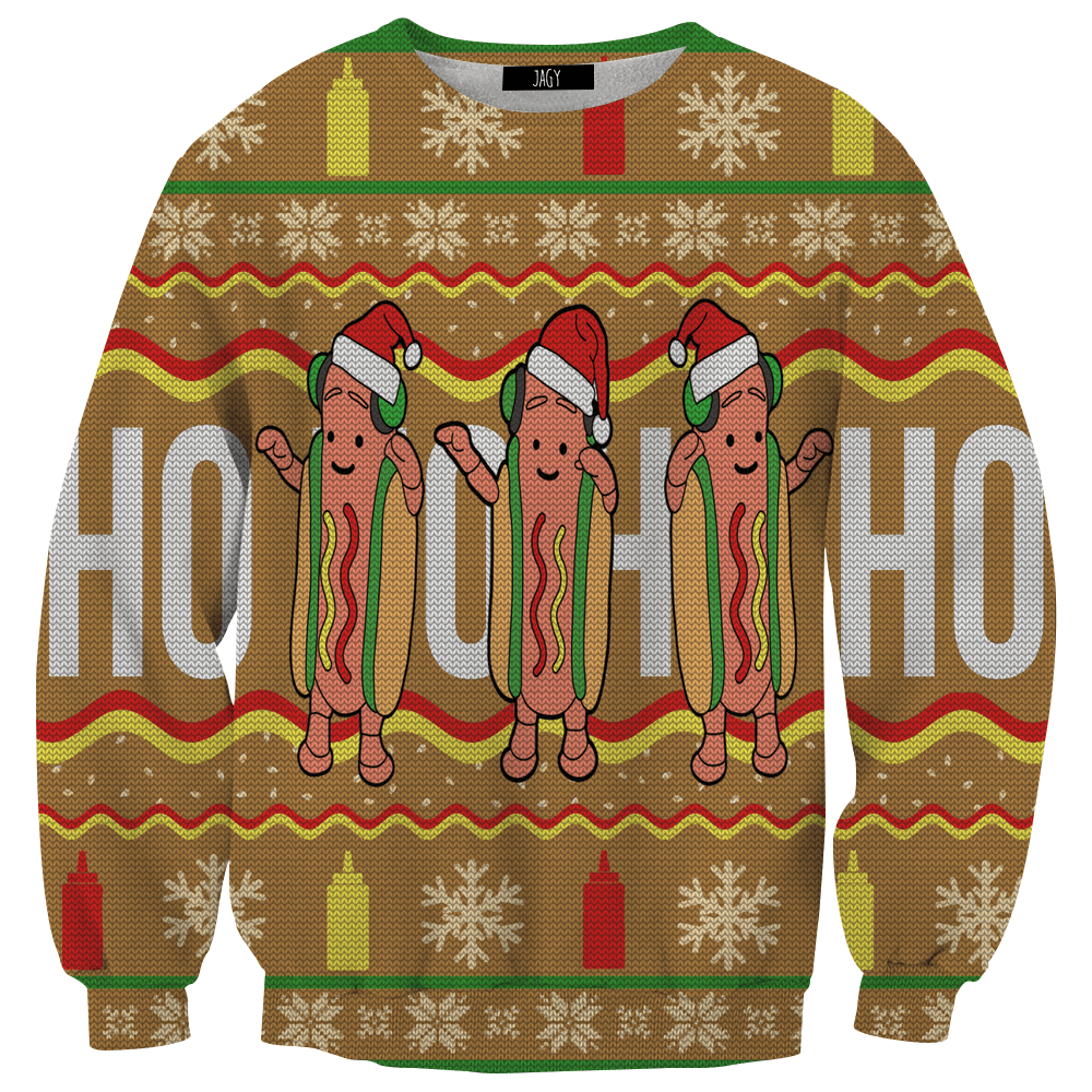 Sweater - Dancing Hot Dog Ugly Sweater Sweatshirt