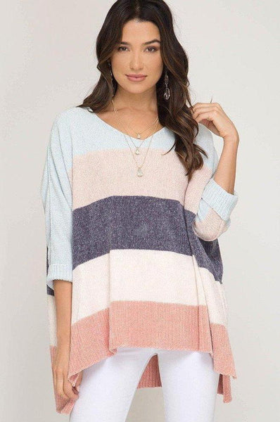 Luna Striped chenille v-neck pastel pink green blue light yellow cream