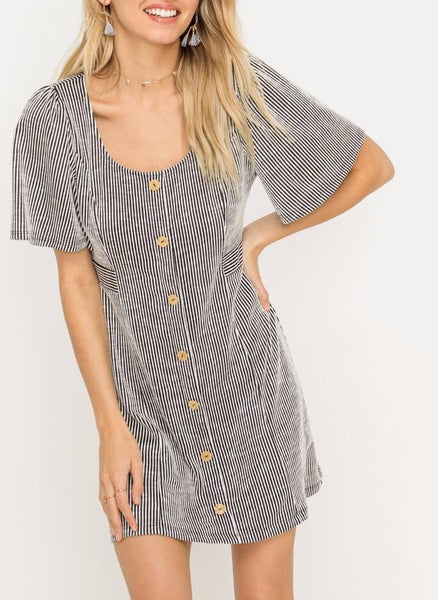 Maisie Striped button up dress ruby jane valleygirl