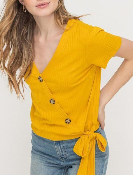 yellow ribbed top button tie waist spring 2019 valleygirl ruby jane