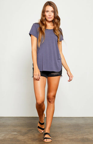Gentle Fawn Alabama T-Shirt In Navy Pencil Stripe