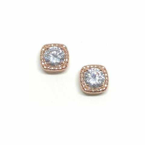 Rose Gold Square Crystal Studs
