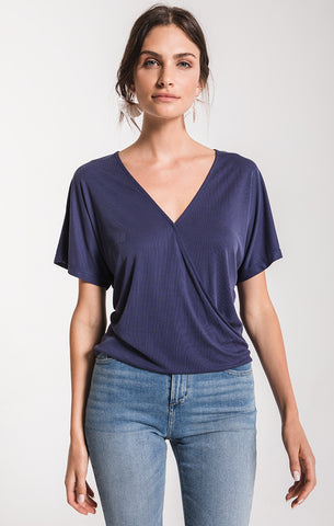 Black Swan Farah Surplice Top In Navy