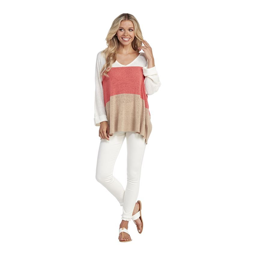 Lincoln Color Block Sweater, Coral
