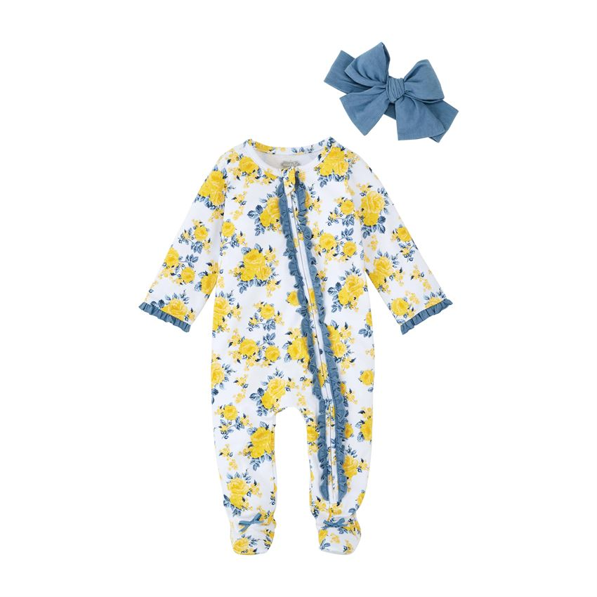 Floral Sleeper and Headband Set