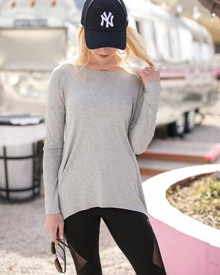 Grace & Lace 'Everyday Favorite Ribbed Tee' - Heather Grey