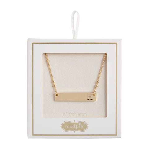 Initial Bar Necklace, H