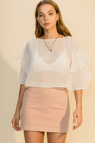 Isla Ruffle Sleeve Blouse, Blush