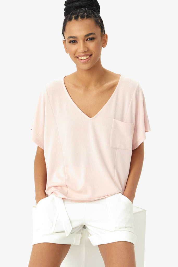Downtown Short Sleeve Top, Pink