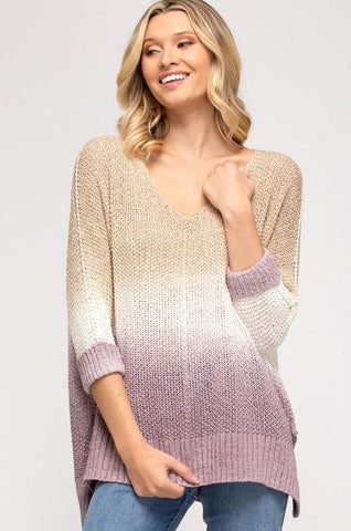 Gwen Dip-Dyed Knit Sweater, Mocha/Mauve