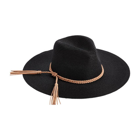 Braided Tassel Fedora, Black