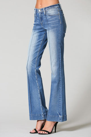 Dorothy Pin Tuck Flare Jeans In Royce Blue