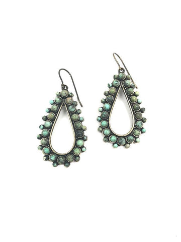 Rebel Designs Open Teardrop Earrings With African Turquoise