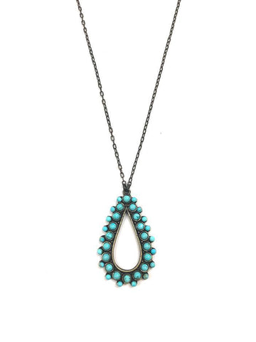 Rebel Designs Open Teardrop Necklace With Light Turquoise