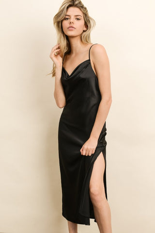 Vicky 90s Satin Dress In Black