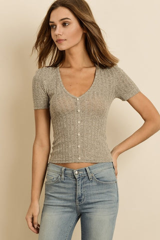 Sara Ribbed Knit Tee in Stone