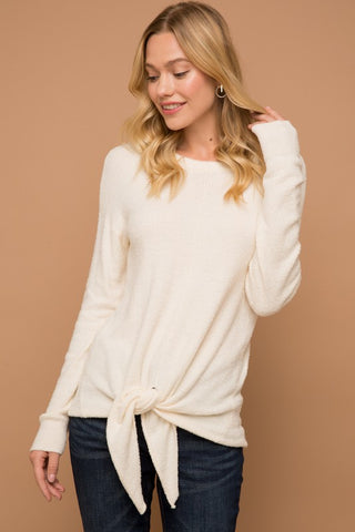 Angelina Tie Front Fuzzy Top in Ivory